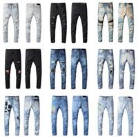 pantolon ebadı l toptan satış-2020 Yeni Varış En Kaliteli Marka Tasarımcısı Amiri Erkekler Denim İnce Jeans Nakış Pantolon Moda Delik Pantolon ABD Boyutu 28-40