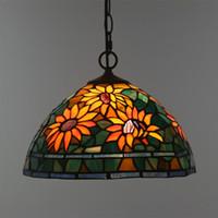 14 zoll ketten großhandel-12 Zoll europäischen Tiffany-Stil Glas Sunflower Lampe für Wohnzimmer Bar ausgesetzt Leuchte Balkon Flur Schnur Kette Pendelleuchten