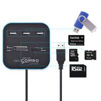 cartes sd britanniques achat en gros de-Lecteur de carte HUB USB 3 ports Multi Splitter USB 7 en 1 Support Micro TF SD M2 Carte SDHC MMC Hub USB 2.0 pour PC portable