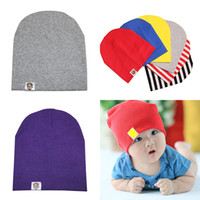 Wholesale baby christmas hats headbands for sale - Group buy 2019 New Baby Hat solid color Newborn heading Cotton cap infant Beanie Caps baby headband hat Toddler hair boutique accessories M109