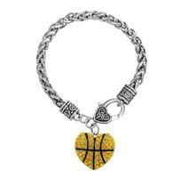 encantos de basquete de liga de zinco venda por atacado-GX065 liga de zinco ródio banhado a ouro de cristal esmalte basquete Encantos Esportes Encantos Grosso Pulseiras de Trigo com lagosta clow clasps