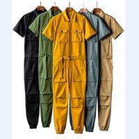 herren plus größe overalls großhandel-Jumpsuits Mann-Sommer-Kurzschluss-Hülsen-Body Overalls Baumwollbeiläufiges Herren-Overall-Spielanzug Sommer Male Sets Kleidung Plus Size 5XL