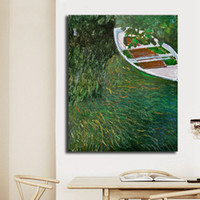 Wholesale boat landscape painting for sale - Group buy Impressionist Style Claude Monet The Boat On The Lake Canvas Painting Oil Print Poster Wall Art Picture For Living Room Home Decor