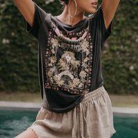 siyah kadınlar kazak toptan satış-Jastie Güneş Tee Kadınlar 2019 Yaz Gömlek Üst Kısa Kollu O-Boyun Kazak Siyah Boho T gömlek Blusa Üst Bayan Giyim