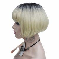 ingrosso scuri biondi scuri biondi-Parrucca stile Neat Bang Short Bob Blonde Ombre e Dark Root Synthetic Natural Full Wigs