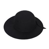 chapéu cloche crianças venda por atacado-Crianças elegantes Meninas Wide Brim Retro Felt Bowler Cap Floppy Cloche Hat