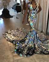 Wholesale girls size jacket resale online - Luxury Long Train Silver Mermaid Prom Dress for Black Girls Sparkly Sequin V Neck African Formal Evening Dresses Plus Size