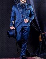 damadın ustalığı toptan satış-Vintage Mavi Düğün Damat smokin Nakış Yaka Üç Parçalı Custom Made Erkekler XS (ceket + pantolon + Vest) Takımları Peaked