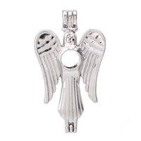 engel flügel ätherisches öl diffusor halskette großhandel-Silber Engel Flügel Perle Käfig Anhänger Aroma ätherisches Öl Diffusor Medaillon Halskette Schmuckherstellung für Oyster Akoya Perlen