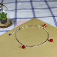 süßes perlenarmband großhandel-Sweet Red Dangling Shell Pearl 925 Sterling Silber Armband