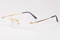 ingrosso occhiali da sole ottici-Occhiali da sole 2019 Occhiali da sole senza montatura per gli uomini donne annata di vetro di Sun Retro Eyewear Gradient oversize obiettivo chiaro Ottica telaio in metallo