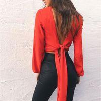 camisa vermelha sexy para mulheres venda por atacado-Backless Curto Sexy T-shirt Das Mulheres Profundo Decote Em V Completo Manga Top Colheita Tshirt Branco Arco Feminino Camiseta Tops Tees Branco Vermelho