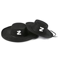 chapéu preto adulto venda por atacado-Zorro Chapéu Halloween Cosplay Cap Adulto Criança Decorar Chapéus de Verão Verão Anti Queimaduras Grandes Chapéus de Sol Brim Preto 4 7kx C1
