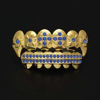 dentes de diamante de cristal venda por atacado-Hip Hop Dental Grills Moda Bling Bling Diamante Teeth Grills Set Jóias Colorido Cristal 3 Cores Venda Quente