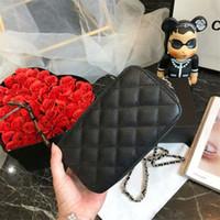 mini chaîne en cuir noir achat en gros de-Sac à main pour femme Woc Pochette Sac à bandoulière en cuir de caviar noir Mini épaule à chaîne Sacs à bandoulière 20 cm