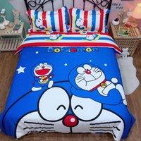 ingrosso cartoni animati per bambini set di biancheria da letto-Set di biancheria da letto di cartone animato di moda Doraemon Copripiumino per bambini in cotone per bambini Twin Queen King Carino copripiumino blu Lenzuolo
