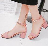boncuk sandaletleri toptan satış-Metal Dize Boncuk Yaz Kadın Sandalet Açık Toe ayakkabı kadın Sandles Meydanı topuk Kadın Ayakkabı Kore Tarzı Gladyatör Ayakkabı