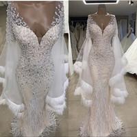 vestidos de noiva emplumados ombros venda por atacado-Pena frisada sereia vestidos de casamento de luxo brilhante fora do ombro mangas compridas vestidos de noiva plus size custom made