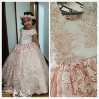 Wholesale birthday party dresses white resale online - Lovely Jewel Neck Blush Flower Girls Dresses with Pearls Belt Cap Sleeve Lace D Floral Little Princess Birthday Wedding Party Gown