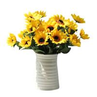 искусственные головки подсолнечника оптовых-Fake Silk Artificial 14 Heads Sunflower Flower Bouquet Floral Garden Home Decor wedding decoration artificial flowers L3
