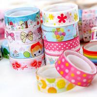 bande de fabrication achat en gros de-10pcs couleurs mélangées japonais Washi Tape Hobby décoratif Crafting Tape Scrap Cute 2016