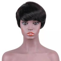 Wholesale human hair wigs short light brown for sale - Group buy 6 Inch Short Straight Bob Wig Natural Black Virgin Human Hair Wigs Brazilian Bob Wig Human Hair Straight Wave