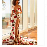 estampas africanas sereia vestidos venda por atacado-Mermaid Rose Impresso Vestidos de Baile 2019 Africano Sexy Profundo Decote Em V Trem Da Varredura Backless Prom Vestidos Desgaste da Noite Com Dividir Fenda Vestidos de Festa