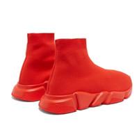 zapatos de chocolate caliente al por mayor-Diseñador CALIENTE Entrenador de velocidad Zapatos de moda de lujo para mujer Zapatos casuales para hombre TODOS Rojo plano de moda Calcetines de punto de velocidad Zapatillas de deporte Zapatillas de deporte de moda