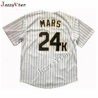 camisa de beisebol baltimore venda por atacado-Homens Bruno Mars 24 K Hooligans Camisola de Beisebol Vermelho Prêmios BET Baseball Jersey de Alta Qualidade Frete Grátis Jerseys