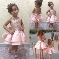 Wholesale cute red dresses for parties resale online - 2020 Blush Short Cute Flower Girls Dresses For Wedding Toddler Birthday Party Gowns V Backless Sequin Lace Girls Kids First Communion Dress