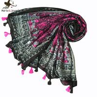 ingrosso sciarpa purpurea paisley-MarteJoven Ethnic Style Paisley Pattern Purple / Black Long Hijab Sciarpa per le donne Bohemian Autumn Winter Soft Warm Blanket Scialli