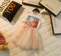 Wholesale natural linen suit for sale - children s clothing baby clothes fashion style Mesh tutu skirt Cute print short sleeve girl two piece suit kids clothes