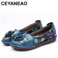 Wholesale CEYANEAO Genuine Leather Shoes Winter Women Ballet Flats Loafers Winter Ladies Slip On Flat Shoes Blue Black Zapatos MujerE1459