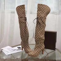 diz üstü deri çizmeler toptan satış-Markalı Kadın Deri Trim Diz Çizmeler Üzerinde Tasarımcı Tasarımcı Lady Tuval Körüğü Yüksek Topuk Kauçuk Taban Uyluk-Yüksek Çizmeler