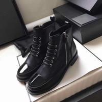 zapatos de combate de cuero al por mayor-Botas de diseñador de mujer de piel de becerro con cordones de refuerzo de cuero de charol negro con punta de tobillo botines madden girl zapatos de tacón áspero tamaño US5-10