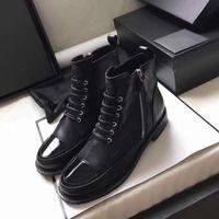 stiefel frauen schwarzes patent großhandel-Frauen Designer Stiefel Kalbsleder schnüren Kampf Boost Leder Lack schwarz Cap Toe Stiefeletten Madden Mädchen raue Ferse Schuhe Größe US5-10
