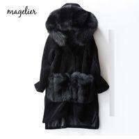 длинные шубы оптовых-MAGELIER Natural Real Sheep Shearling Genuine  Fur Sheep Skin Fur Coat Winter Long Thick Outerwear Coats Female LD-7710