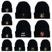 Wholesale cosplay beanie for sale - Group buy Harry Potter Beanie Hat Gryffindor Slytherin Hufflepuff Cap Knit Hat Cosplay School letter Kintted wool Winter skull Cap LJJA3295