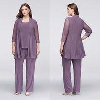 anne gelin artı ebatlı pul toptan satış-Mütevazı Üç Adet Anne Pantolon Pant Ile Suits Sequins Düğün Konuk Elbiseler Artı Boyutu Şifon Anneler Damat Elbiseler