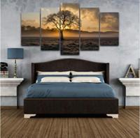cartaz da foto da arte venda por atacado-Pintura da lona Da Arte Da Parede Do Vintage Quadro Impresso Fotos 5 Painel Poster Sunrise Árvore Paisagem Foto Para Sala de estar Decoração