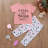 Wholesale kids legging cute for sale - Group buy Baby Girls Clothing Sets Short Sleeve Letter Printed T shirts Long Pants Legging Toddler Children Suits Kids Clothing