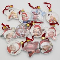 Wholesale transparent plastic hanging resale online - New transparent plastic photo five star ball christmas decorations X mas tree hanging decorations DIY party Valentine s Day gift