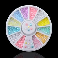Wholesale nail art pearl stickers for sale - Group buy 1 Wheel Mix Sizes Nail Pearls mm mm mm Colors Mix Glitter Nail Rhinestone Pearls Decoration Art Stickers Tools NRW017