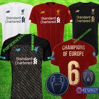 top xxl al por mayor-liverpool 2019 2020 Nueva camiseta de fútbol Mohamed Salah 6 trofeo 2019 MANE Tops Camiseta de fútbol VIRGIL camiseta KITS FIRMINO ALISSON BECKER Maillot negro
