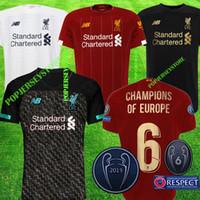 26 kits achat en gros de-Maillot de foot 2019 2020 New Mohamed Salah 6 trophée 2019 MANE Tops Maillot liverpool de foot VIRGIL camiseta FIRMINO Kits ALISSON BECKER Maillot noir