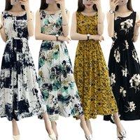 bayan pamuklu bornoz toptan satış-Kadın Yaz Bohemian Elbise Bayanlar Maxi Rahat Çiçek Plaj Boho Pamuk Elbiseler Bağbozumu Çiçek Uzun Kadın Zarif SunDress