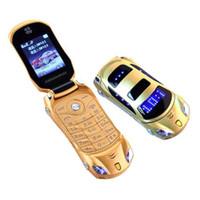 telefones celulares para crianças venda por atacado-F15 flip phone com câmera dual sim led luz 1.8 polegadas tela carro de luxo celular presente para criança