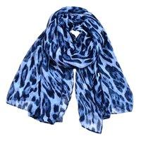ingrosso sciarpa di stampa del leopardo blu-New Design leopard Sciarpe lunghe donna stampa animali blu voile Anello girocollo sciarpa donna scialli colori avvolgenti