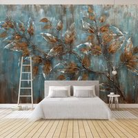 Wholesale bedroom oil paintings for sale - Group buy Custom Mural Wallpaper For Bedroom European Style Oil Painting Tree Leaves Art Background Wall Living Room Decoration Painting
