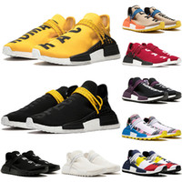 nmd raça humana venda por atacado-2020 Top NMD Human Race Shoes Pharrell Williams Men Women Running Shoes Sample Yellow Black Nerd Black Designer Casual Sneakers